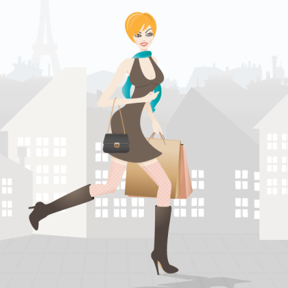 Shopping Girl in Paris – Free Vector