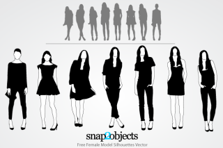 Free Female Model Silhouettes Vector Pack
