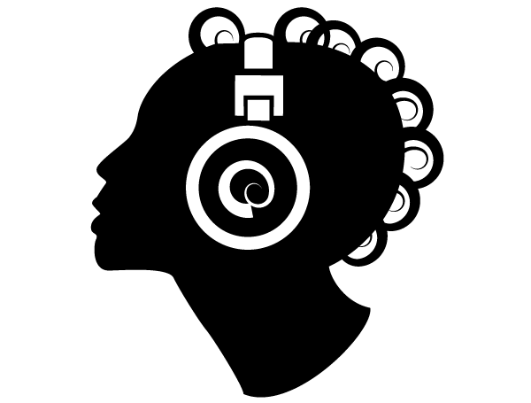 Music vector. Girl listening to clip