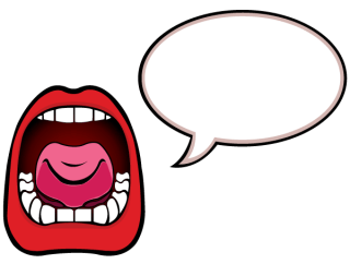 Open Mouth with Speech Bubble Vector Illustration