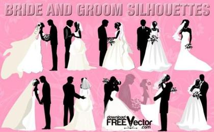 Bride and Groom Silhouettes Vector Free