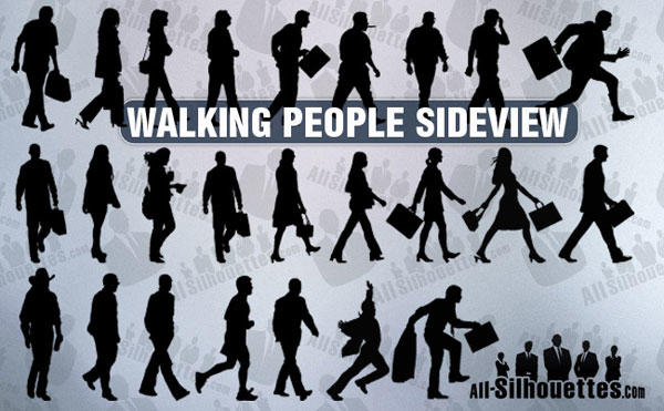 Walking People Silhouette Vector Free
