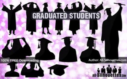 Free Vector Graduating Students Silhouettes