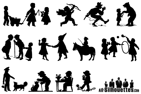 Children Playing Silhouettes Vector Free