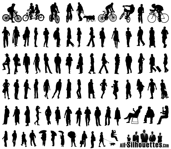 Free Vector Silhouettes of People Standing, Sitting, Walking
