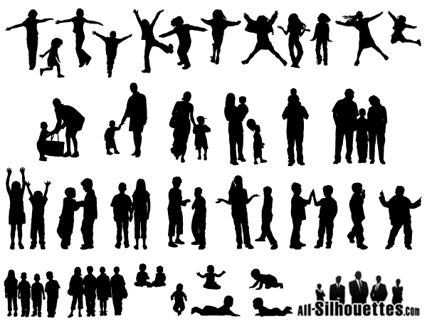 Free Vector Children, Kids, Teens Silhouettes