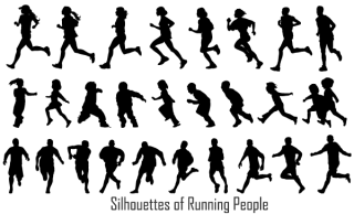 Free Running People Silhouettes Vector Image