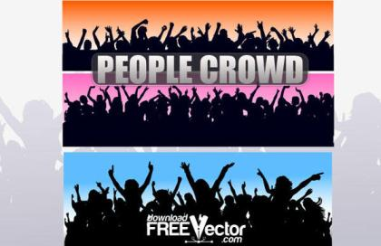 Free People Crowd Silhouettes Vector Image