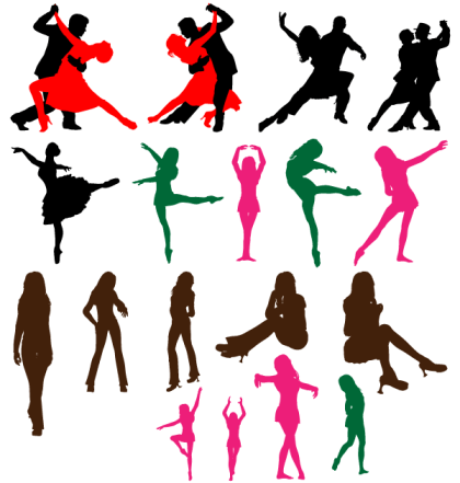 Dancing Couple Silhouettes Free Vector