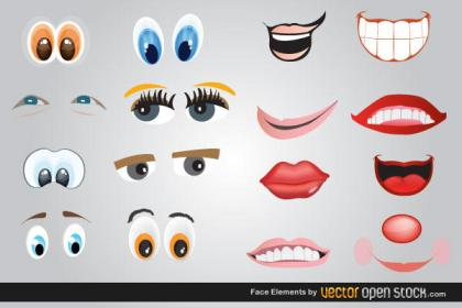 Lips, Eyes and Mouth Vector Free Download