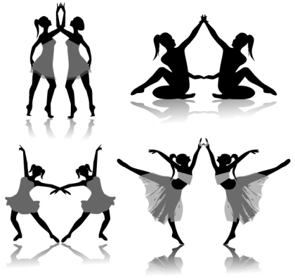 Free Ballet Dancers Silhouettes Vector