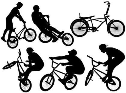 Bike Jump Vector Silhouettes Free