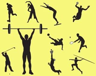 Free Vector Set: Sportsmen Silhouettes