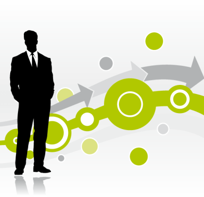 Abstract Background with Businessman Silhouette