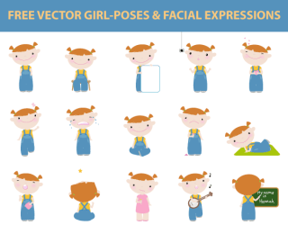 Free Vector Girl Poses and Facial Expressions