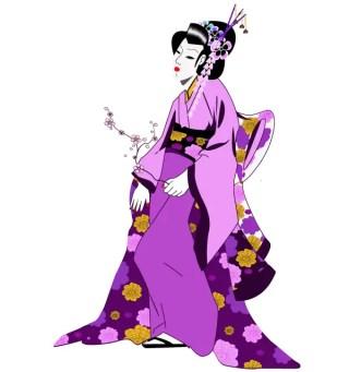 Japanese Geisha Girl Vector Free