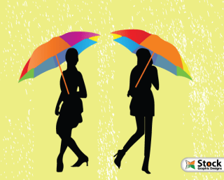 Girls with Umbrella Walking in the Rain Vector Illustration