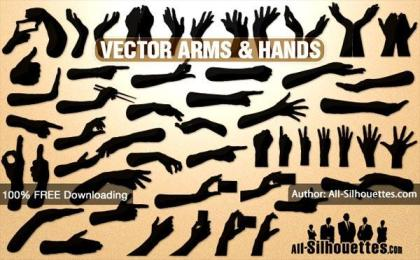 Free Vector Hands and Arms Silhouettes