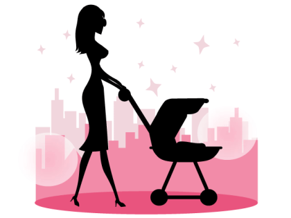 Mommy Walking Baby in a Stroller Vector Free