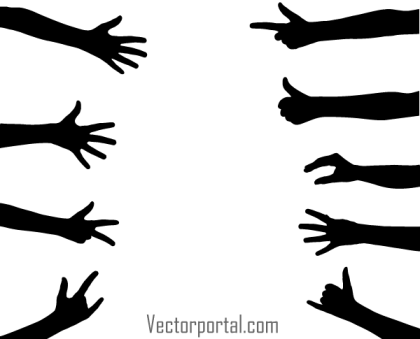 Vector Hand Gesture Silhouettes Images