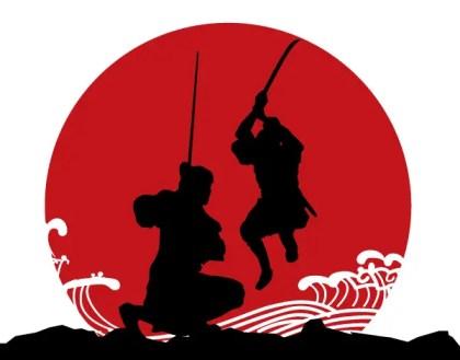Japanese Samurai Armor Vector Silhouettes