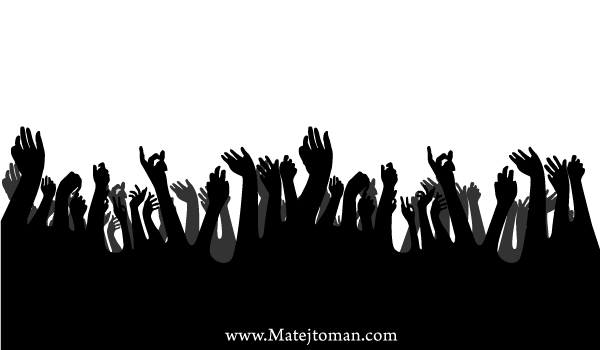 Crowd Hands Up Free Vector Silhouettes