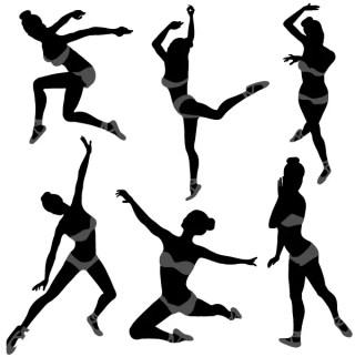 Dancing Girl Silhouettes Illustration