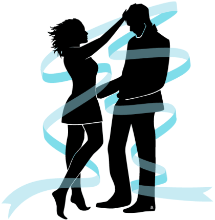 Love Couple Silhouette Vector Image