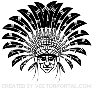 Indian Chief Wearing a Headdress Vector Art