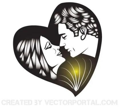 Man And Woman Kissing Vector Image Free