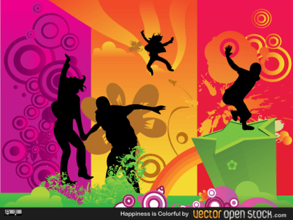 Happiness is Colorful – Vector Fun People Illustration