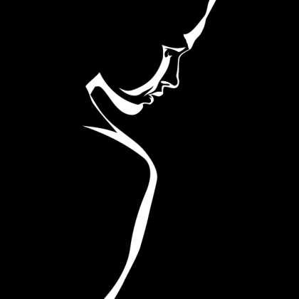Vector Woman Silhouette on Black