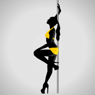 Vector Silhouette of Young Women Dancing a Striptease