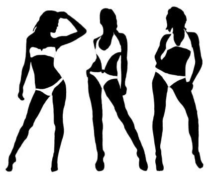 Women in Bikini Vector Silhouettes