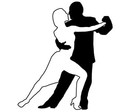 Couple Dancing Tango Silhouettes Vector