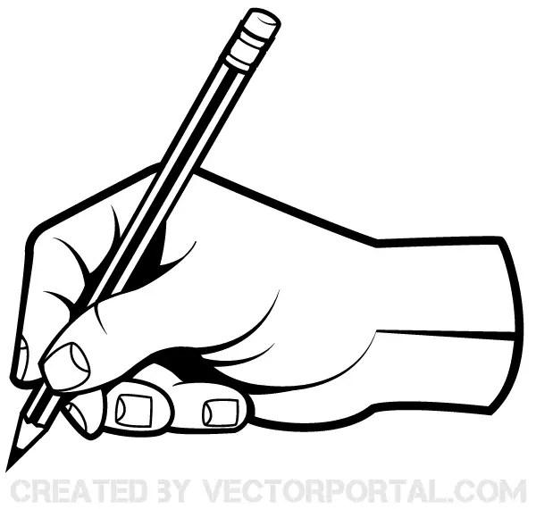 Human Hand Holding a Pencil Clip Art