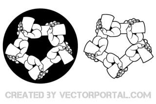 Circle Of Hands Vector Art