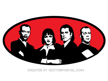 Free download Pulp Fiction Movie Characters Vector Portrait clip art image.