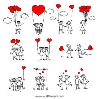 Stick Figure Lovers Cartoon Vector Illustrator Pack