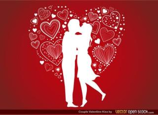 Young Romantic Couple Kissing on Red Background Vector