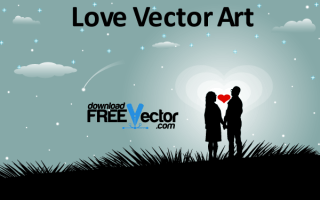 Valentine Vector Art – Couple in Love Silhouettes with Red Heart