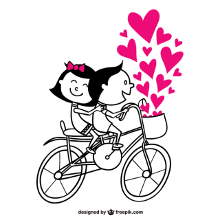 Romantic Couple Riding a Bicycle with Pink Heart Vector