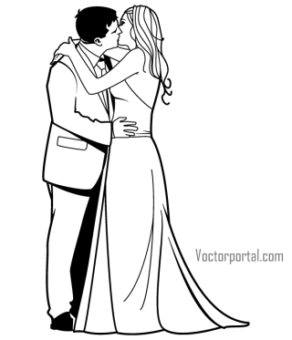 Romantic Newly Married Couple Kissing Vector Clip Art