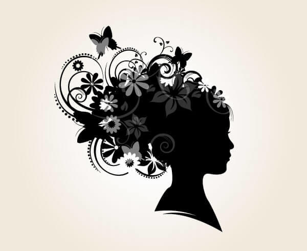 Flower Girl, Floral Hairstyle Silhouette Vector
