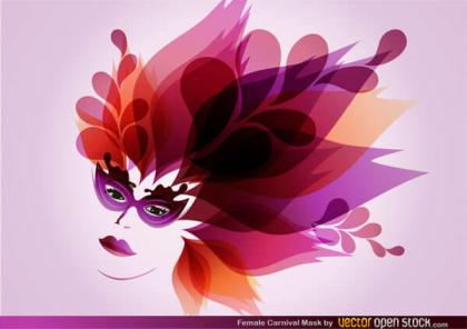 Beautiful Flower Girl with Carnival Mask Vector Image