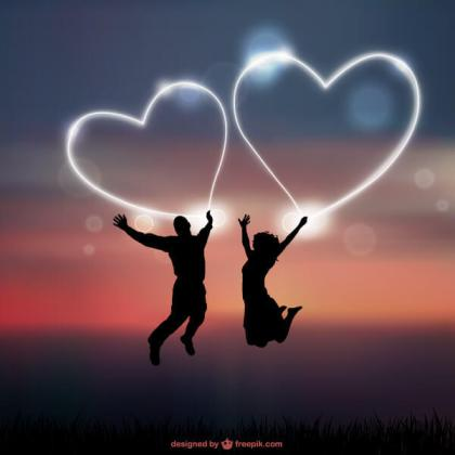 Abstract Love Heart Background with Romantic Couple Silhouettes