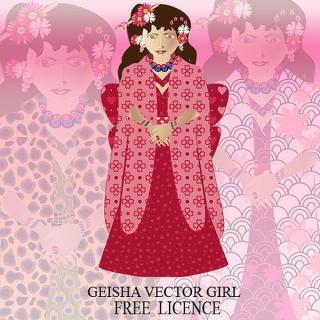 Vector Japanese Geisha Girl Image
