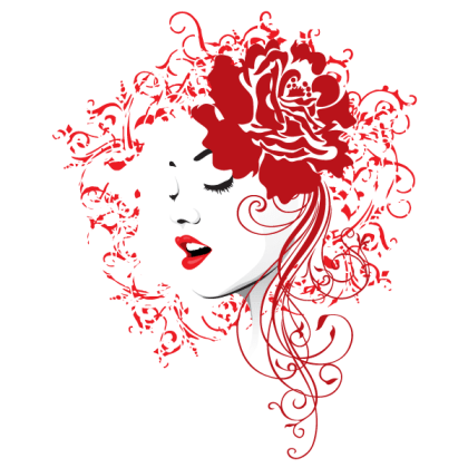 Girl Face with Red Rose and Floral Hair Vector Image