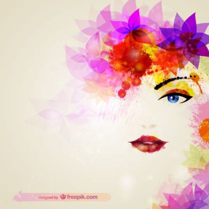 Beautiful Girl Face with Abstract Flowers Vector