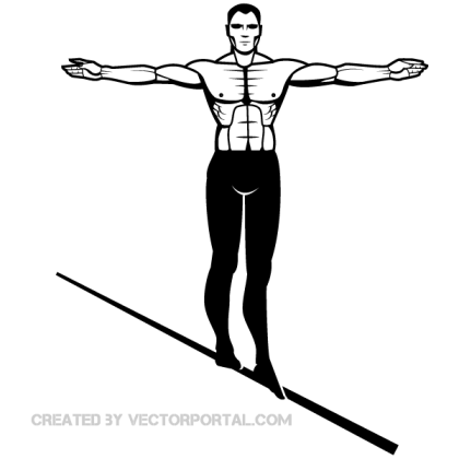 Man on Wire Vector Image